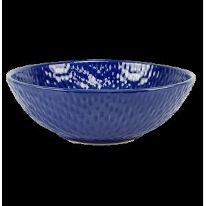 Saladier bleu relief moucheté
