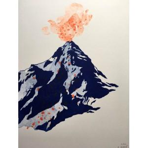 Linogravure - Volcan III