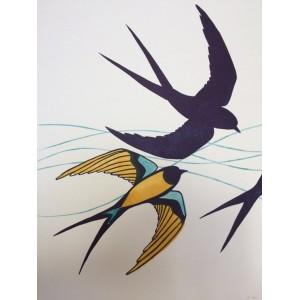 Linogravure - Hirondelles