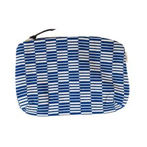 Pochette GM Carré rayé - Bleu