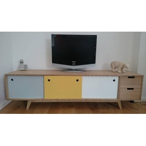 meuble tv scandinave ch ne gris jaune blanc. Black Bedroom Furniture Sets. Home Design Ideas