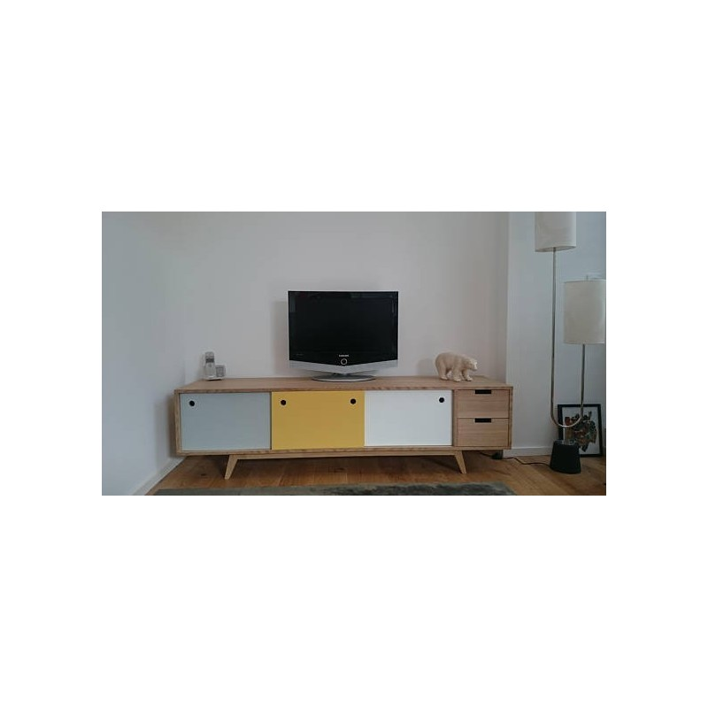 Meuble tv scandinave ch ne gris jaune blanc - Meuble tv blanc scandinave ...