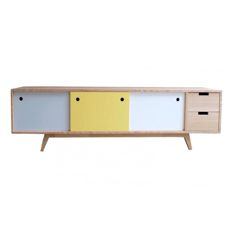Meuble Tv Scandinave Chene Gris Jaune Blanc