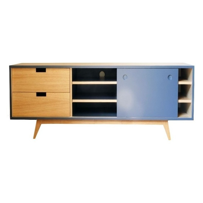 meuble tv scandinave ch ne et gris ardoise. Black Bedroom Furniture Sets. Home Design Ideas