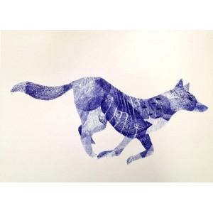 Linogravure - Course du loup