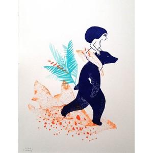Linogravure - Femme sur l'ours