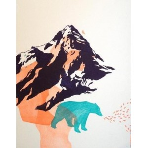 Linogravure - Grande montagne