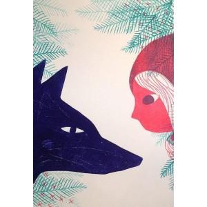 Linogravure - Nez à nez
