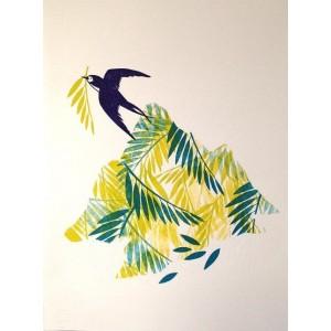 Linogravure - Oiseau