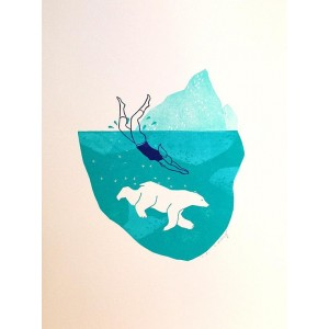 Linogravure - Plongeon