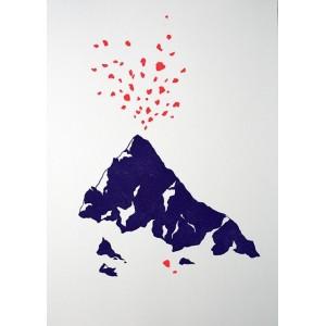 Linogravure - Volcan