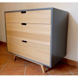 commode 3 tiroirs gris et ch ne naturel. Black Bedroom Furniture Sets. Home Design Ideas